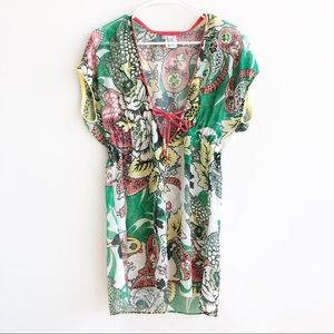 Becca Rebecca Virtue Sheer Floral Paisley Cover Up